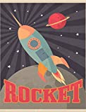 JP London PMUR2425 uStrip Peel and Stick Removable Wall Decal Sticker Mural, Retro Space Ship Rocket Flight, 4 x 3-Feet