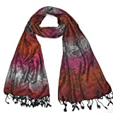 Floral Beautiful Rose Pashmina Scarf for Women - Jacquard pashmina shawl - Pink, Purple, Red, Grey, Colourful