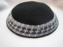 Black Crochet Kippah 16 CM - Hand Knitted