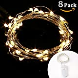 LE 8 Pack 20 Micro Starry LED Copper Wire String Lights, Warm White, Extra Thin, 3.3ft/1m Waterproof Moon Lights, Battery Operated, Decorative Copper Wire Lights for DIY Wedding Centerpiece