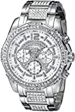 GUESS Men's U0291G1 Silver-Tone Chronograph Watch Adorned with Genuine Crystals
