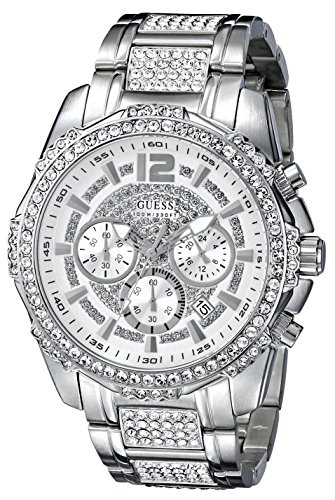 GUESS Men's U0291G1 Silver-Tone Chronograph Watch