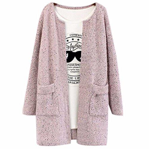 Donne Di Colore Della Caramella Medio Allentato Cappotto Inverno Maglione Cardigan Cappotto