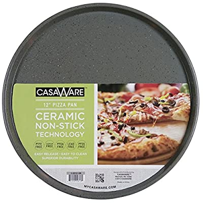 casaWare Toaster Oven Pizza/baking Pan 12-inch (Silver Granite)