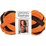 Coats Yarn Red Heart Boutique Sashay Team Spirit Yarn, Orange/Black