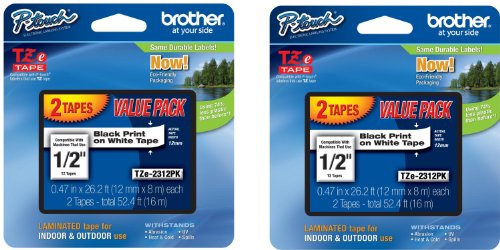 Brother Laminated Black On White Tape 2Pack (TZe2312PK) (4-PACK) (2 x 2-pack) (Brother Tze231 Tape compare prices)