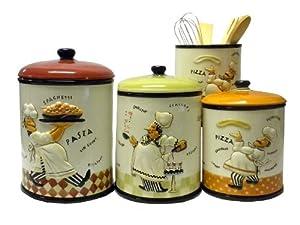Bistro fat italian chef 4 piece ceramic for Italian kitchen set