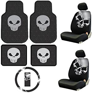 Auto Accessories Interior/Exterior Combo Kit Gift Set - 9pc - Low Back - Grey Skull by PlastiColor