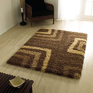 "Large Quality Shaggy Rug in Brown 160 x 230 cm (5'3"" x 7'7"") Carpet by Lord of Rugs"