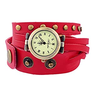 8Years(R) New Vintage Style Bronze Quartz Red Cool Leather Bracelet Lady Woman Wrist Watch