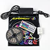 SUPERNIGHT (TM) High Quality RGB Color Changing Led Lighting Strip, SMD5050, 300 LEDs, Non-Waterproof with 3M Tape, 5 Meter or 16 Feet Kit, With 44 Key-Remote, 12V 5A Transformer