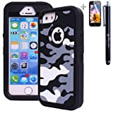 Heavy Duty High Impact Shockproof Dirtproof Army Military Camo Hard + Soft Defender Case Cover for Apple iPhone 5 5s + Stylus + Screen Protector – Grey Reviews