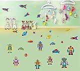 ENFANTS STICKERS MURAUX GRAND ROBOTS AUTOCOLLANTS FILLES CHAMBRE DE MUR CHAMBRE DECOR Décoration Sticker Adhesif Mural Géant Répositionnable...