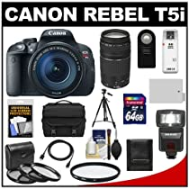 Canon EOS Rebel T5i Digital SLR Camera & EF-S 18-135mm IS STM Lens with EF 75-300mm III Lens + 64GB Card + Battery + Case + Flash + 3 UV/CPL/ND8 Filters Kit