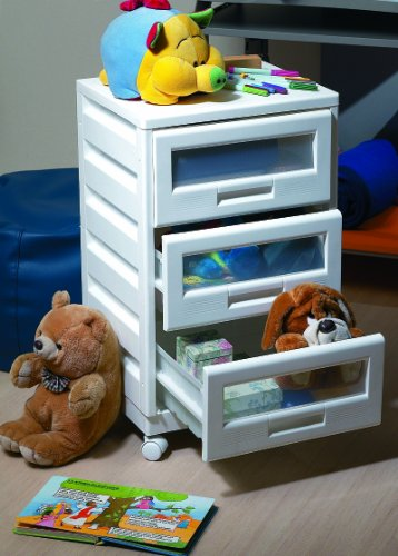 3 drawer Storage and Organization Cabinet or Cart, See-through Drawers, Casters, Stackable, White (Camper Casters compare prices)
