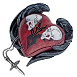 Design Toscano CL5821 Beating Heart Gothic Winged Skull Biker Relic Box