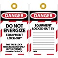 "NMC LOTAG8-25 ""DANGER - DO NOT ENERGIZE EQUIPMENT LOCK-OUT"" Lockout Tag, Unrippable Vinyl, 3"" Length, 6"" Height, Black/Red on White (Pack of 25)"