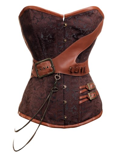 CD-237 - Steampunk Brocade Corset with Chain and Belt Detail - 20