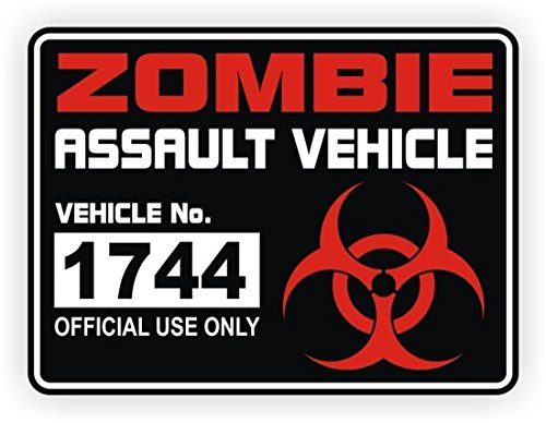 1 Pcs Exceptional Popular Zombie Assault Vehicle Car Sticker Sign Apocalypse Labels Nuclear Decals Windows Decor Size 3