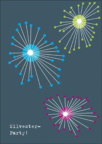 Verschicken Sie ein elegantes grafisches Feuerwerk und laden Sie zur Silvester / Neujahrs Party • auch zum direkt Versenden mit ihrem persönlichen Text als Einleger.