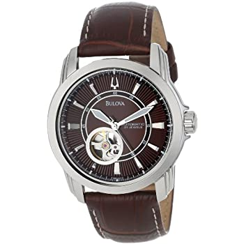 Brushed and polished stainless steel case measures 42mm diameter by 13mm thick. Genuine leather strap includes a stainless steel buckle a classy and proven design to impress any peers. Patterned brown dial includes luminous silver tone hands and hour...