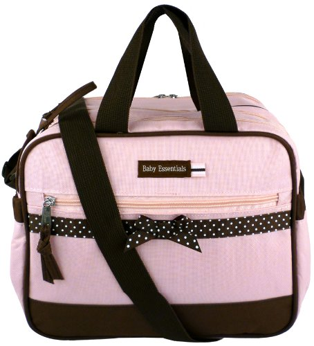 baby essentials pink dots ribbon baby girl diaper bag cooler diaper bags babies. Black Bedroom Furniture Sets. Home Design Ideas