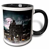 3dRose A Halloween Haunted House in The Night with Ghosts and Creatures Two Tone Black Mug, 11 oz, Black/White