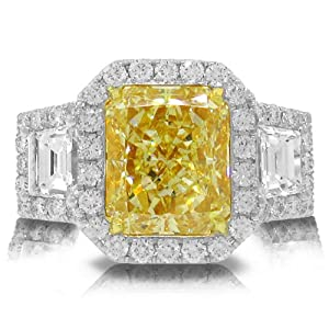 6.71ct 18k Two-tone Gold EGL Certified Radiant Cut Natural Fancy Yellow Diamond Ring
