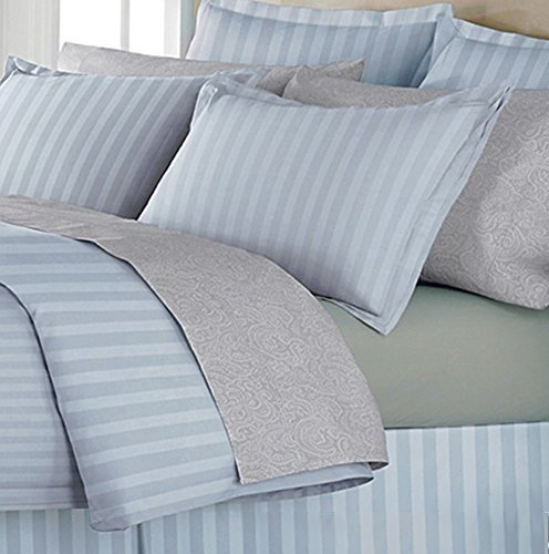 500Tc Egyptian Cotton Queen Blue Stripe Duvet Cover Set By Marrikas front-988574