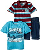 Little Rebels Boys 2-7 Three-Piece Super Charged Short Set