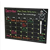 Magnetic Calendar - Smart Dry Erase Board For Your Refrigerator, Kitchen & Office. Stylish Black Chalkboard Monthly Design Planner For All Your Kids Activities + 1 White Liquid Chalk Marker (16
