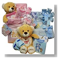 Sweet Baby Diaper Bag Gift Basket with Teddy Bear - Boy Blue
