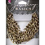 Cousin JBCHN-18011 Jewelry Basics Small Diamond Metal Chain, 70-Inch, Antique Gold