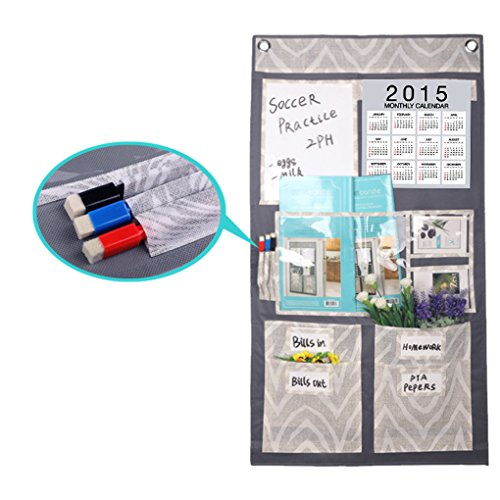 FakeFace Creative Multi Pockets Over Door Organizer Wall Hanging Storage Bag with Letters Calender Holder Memo Board, Weekly Planner, Bills Organizer,CD Magazine Rack [Free 2 Hooks+3 Erase Marker Pens] by FakeFace