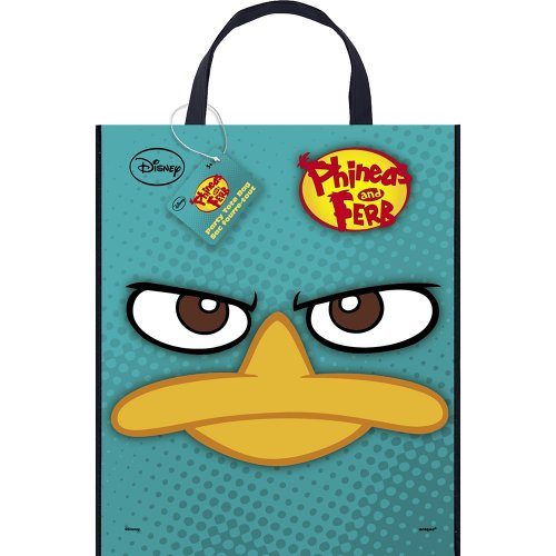"Large Plastic Phineas and Ferb Favor Bag, 13"" x 11"""
