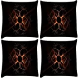 Snoogg Hold My Hand Pack Of 4 Digitally Printed Cushion Cover Pillows 18 X 18 Inch