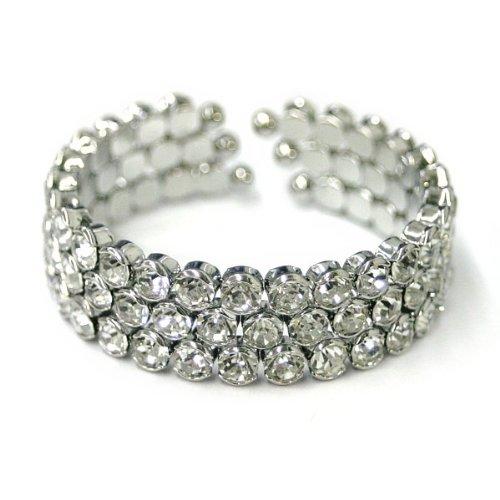 Bridal Princess Wedding 3 Rows Round Crystal Flexible Bangle Bracele