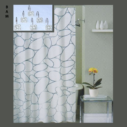 ... Shower Curtain with 12 Matching Metal/Ceramic Shower Curtain Hooks