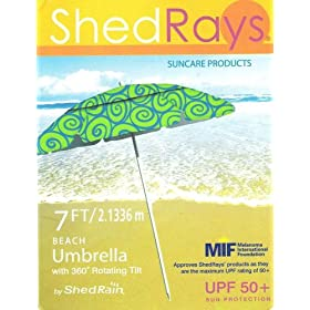Shed Rays Beach Umbrella 7ft/2.1336m with 360 Rotating Tilt