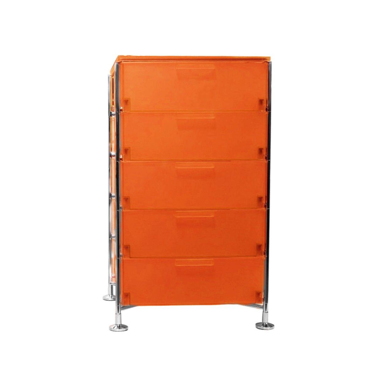 Kartell 2035L4 Container Mobil, 5 Schubladen, dunkelorange