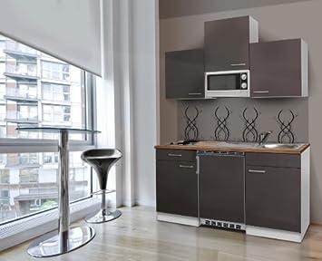 Respekta KB150WGMI Kitchen Unit Including Walnut Butcher Worktop and Microwave 150 cm White / Grey