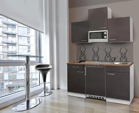 Respekta Kitchen Unit 150 cm White with APL Butcher Walnut Microwave Ceramic Grey KB150WGMIC
