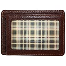 Boconi Tyler Tumbled Weekender ID Card Case (Coffee w/plaid)