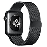 top4cus Double Electroplating 42mm Milanese Loop Stainless Steel Replacement iWatch Band with Magnetic Closure Clasp for Apple Watch 42mm - Black