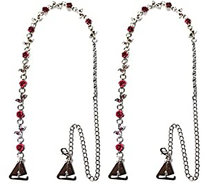 StrapN'Guard® Roses Crystal Straps with Pin Hooks for Strapless Clothing and Bra