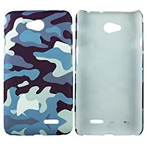 Heartly Army Style Retro Color Armor Hybrid Hard Bumper Back Case Cover For LG L70 D325 Dual Sim - Navy Blue