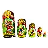5 Pcs/ 6.5 Red Riding Hood Wooden Nesting Dolls Matryoshka
