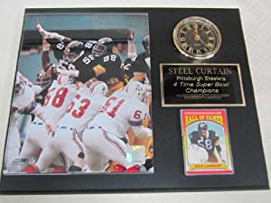 Pittsburgh Steelers STEEL CURTAIN Collectors Clock Plaque w 8x10 Photo and Card by J & C Baseball Clubhouse