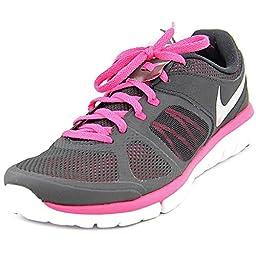 Nike Women\'s Flex 2014 RN Black/Mtllc Slvr/Vvd Pnk/White Running Shoe 8.5 Women US