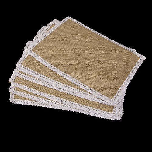10pcs Hessian Burlap Table Mats w/ Lace Placemat Wedding Party Decor 30x22cm
